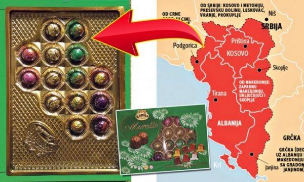 """FOTO/ Tmerrohen serbët, blejnë çokollata por kur i hapin u del harta e """"Shqipërisë së Madhe"""""""